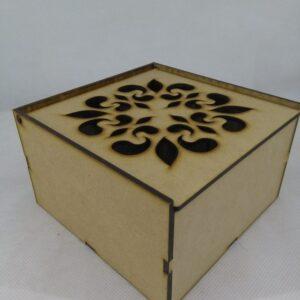 Caja para Té tapa calada 4 divisorios