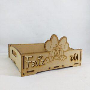 """Bandeja """"FELIZ DIA"""" Minnie Mouse 20x20cm"""
